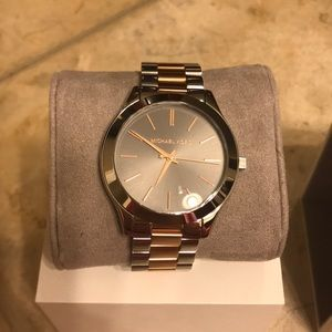 COPY - Michael Kors rose gold and silver watch